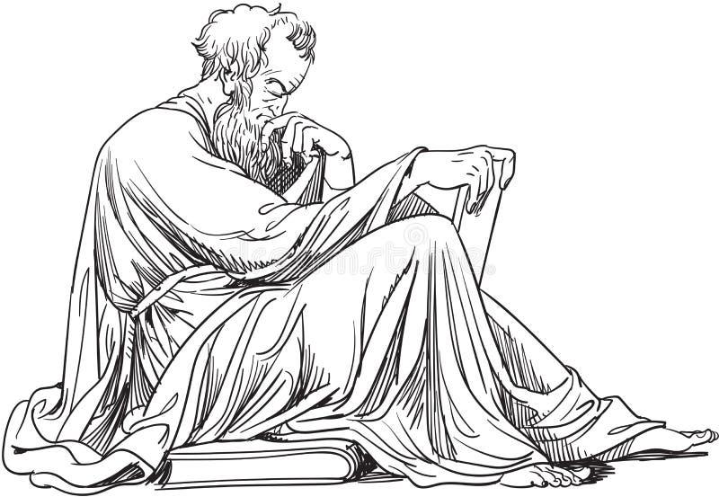 Epictetus, filozof, wektor ilustracji
