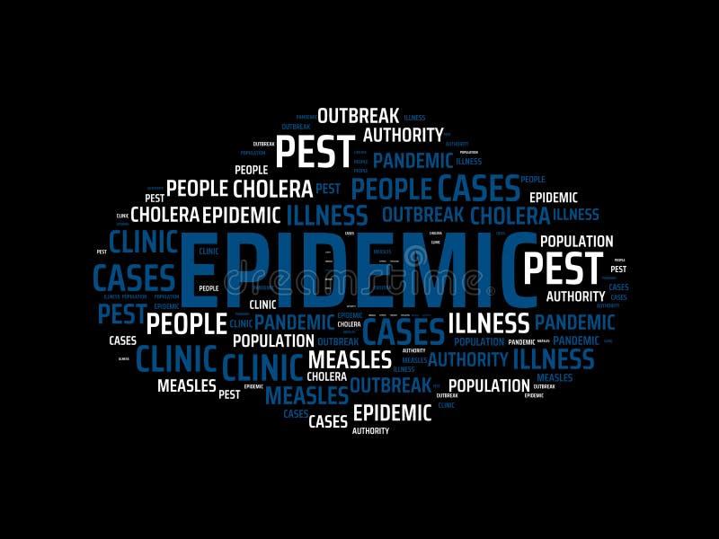 EPIDEMI - bild med ord som förbinds med ämneEPIDEMIN, ordmoln, kub, bokstav, bild, illustration vektor illustrationer