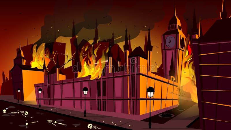 Epidemia de la plaga de Londres en el ejemplo del vector del fuego libre illustration