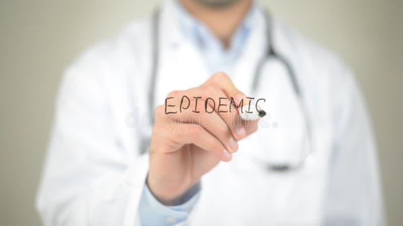 Epidemia, escrita do doutor na tela transparente fotografia de stock royalty free