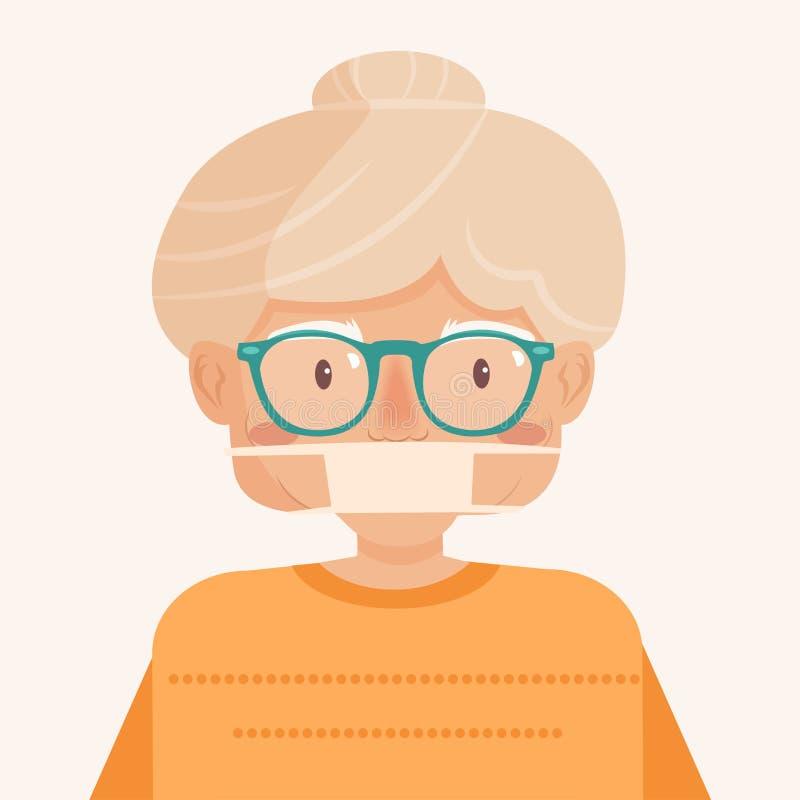 epidemia Mujer en la máscara médica stock de ilustración