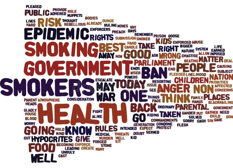 Epidemie des Ärgers als Raucher gehen Text-Hintergrund-Wort-Wolken-Konzept in den Krieg stock abbildung