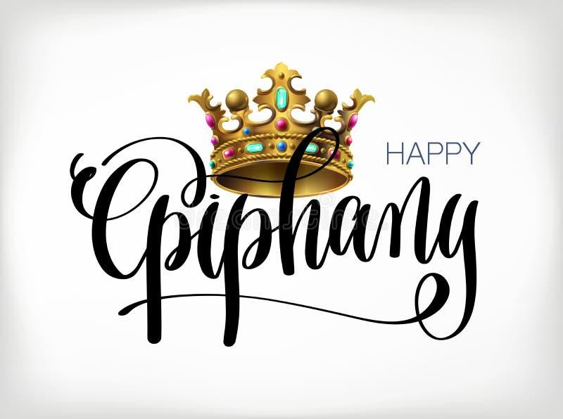 Epifanía feliz - dé el texto de las letras con la corona de los reyes libre illustration