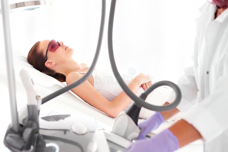 Epilation. Laser hair removal stock photo