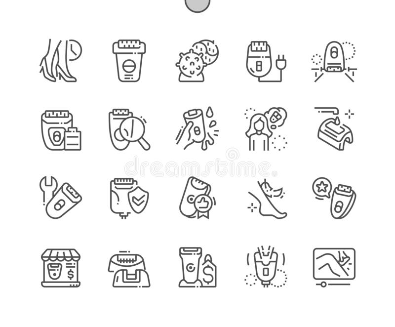 Epilator Well-crafted Vector Thin Line Icons royalty free stock photography