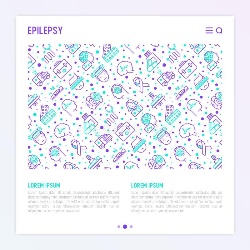 Epilepsi pojęcie z cienkimi kreskowymi ikonami ilustracji
