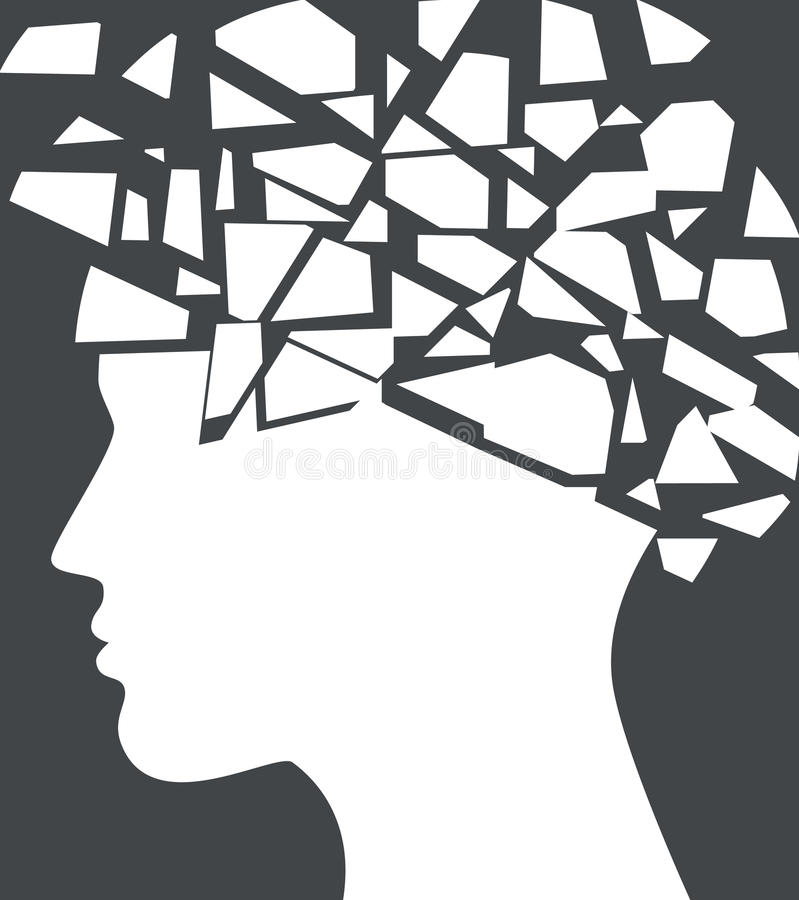 Epilepsia, conceito da dor de cabeça com a silhueta da cara quebrada ilustração do vetor