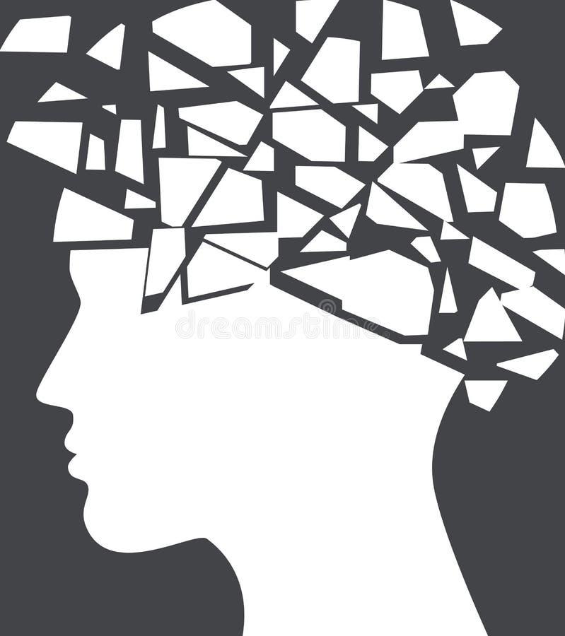 Epilepsia, concepto del dolor de cabeza con la silueta de la cara rota ilustración del vector