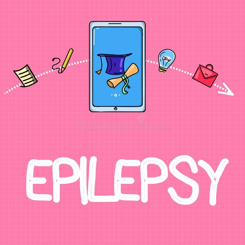 Epilepsia conceptual da exibição da escrita da mão Do negócio da foto do texto as apreensões imprevisíveis as mais comuns da deso ilustração do vetor
