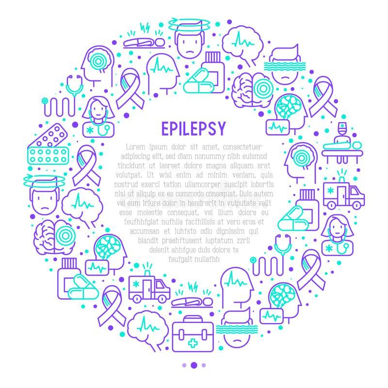 Epilepsibegrepp i cirkel med den tunna linjen symboler royaltyfri illustrationer