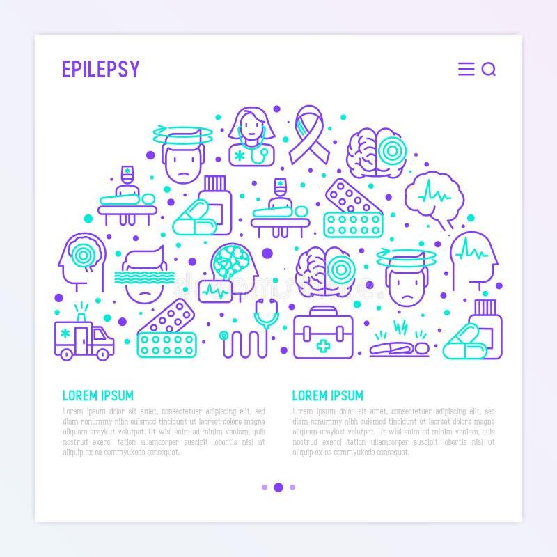 Epilepsibegrepp i halv cirkel royaltyfri illustrationer