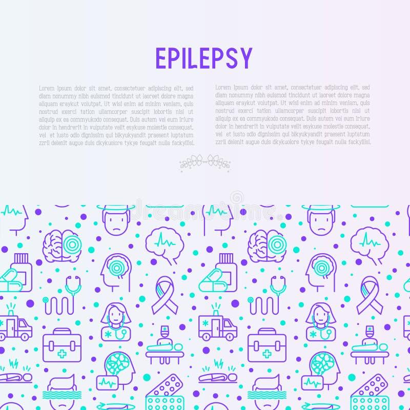 Epilepsibegrepp med den tunna linjen symboler vektor illustrationer