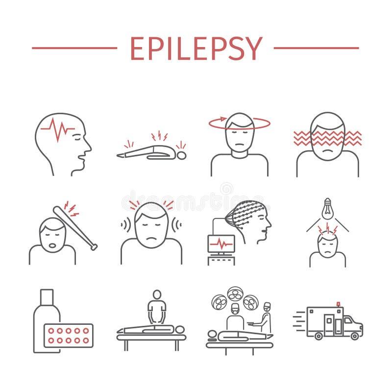 epilepsie Linie Ikonen eingestellt stock abbildung