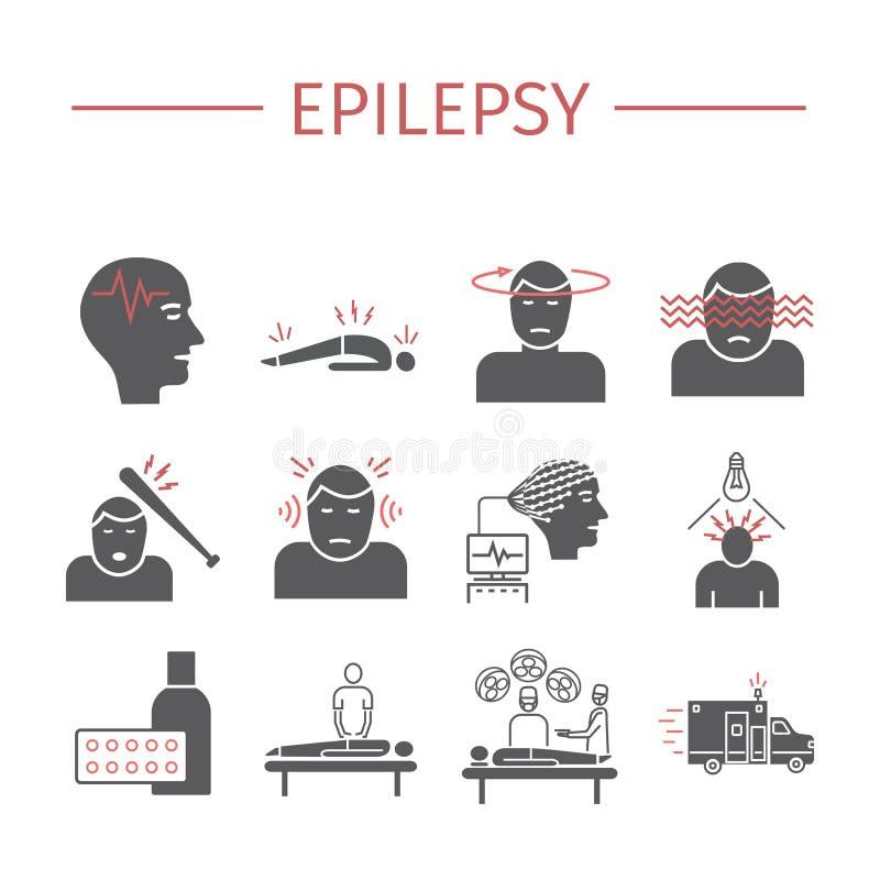 epilepsie Symptome, Behandlung Flache Ikonen eingestellt Vektorzeichen stock abbildung