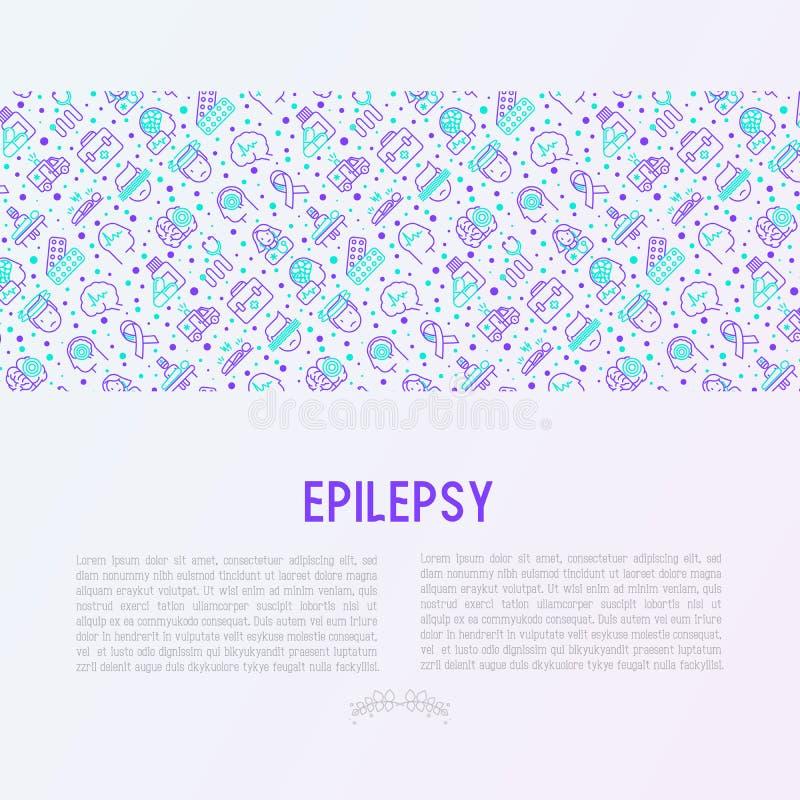 Epilepsiekonzept mit dünner Linie Ikonen vektor abbildung