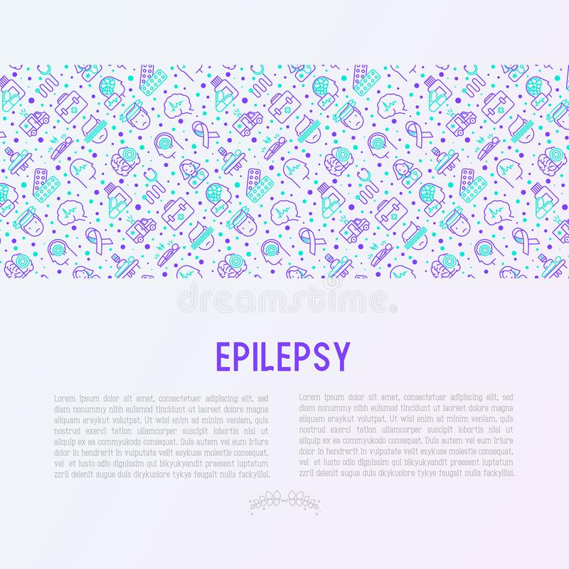Epilepsy concept with thin line icons vector illustration