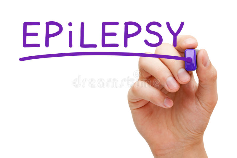 Epilepsy Purple Marker. Hand writing Epilepsy with purple marker on transparent wipe board royalty free stock photography