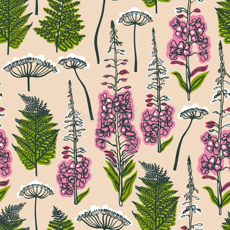 Epilobiumangustifolium, Engelwortel, Polypodiophyta Naadloos patroon met bos en gebiedsinstallaties en bloemen Engelwortel, varen royalty-vrije illustratie