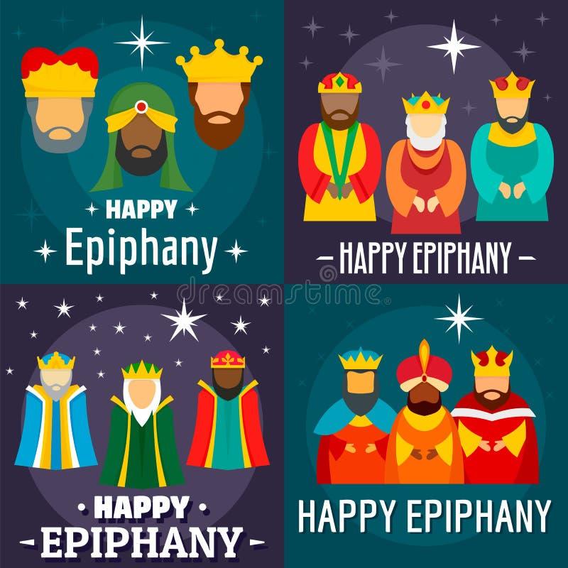 Epiphany banner set, flat style royalty free illustration