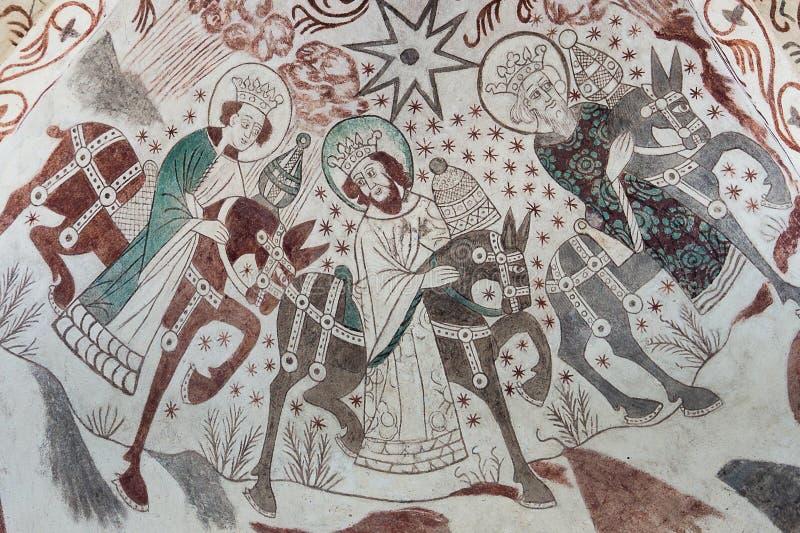 epiphany Pittura gotica della parete del vangelo di Natale fotografia stock
