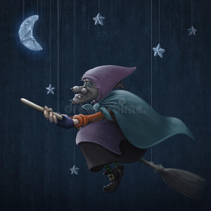 Download Epiphany rides a broom stock illustration. Image of flying - 28379475