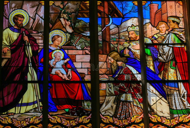 Epiphany Stained Glass in Tours Cathedral. Stained glass window depicting the Epiphany, the Visit of the Three Kings in Bethlehem, in the Cathedral of Tours stock photos