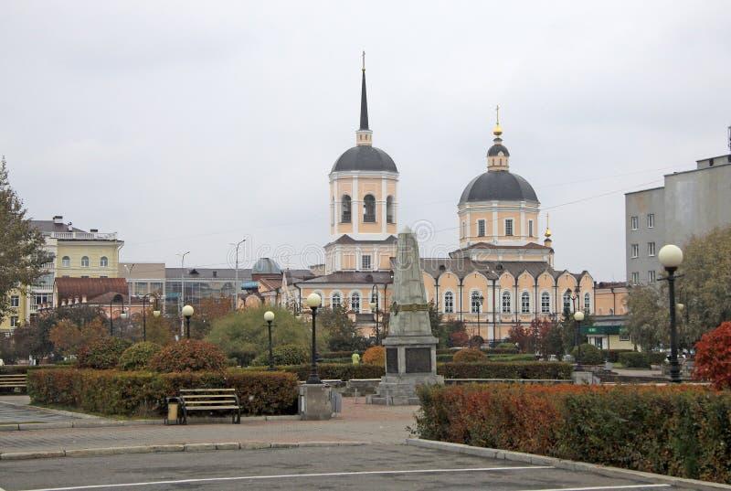 Epiphanydomkyrka i Tomsk, Ryssland royaltyfri fotografi