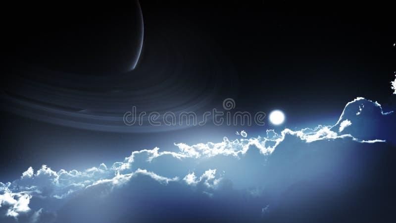 Epischer entfernter Planeten-Himmel stock abbildung