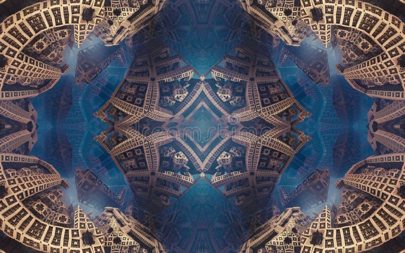 Episches abstraktes fantastisches Plakat oder Hintergrund Futuristische Innenansicht des Fractal Muster in der Form von Pfeilen lizenzfreies stockfoto