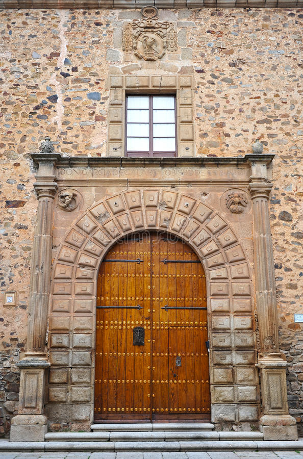 The episcopal Palace, the medieval city of Caceres, Extremadura, Spain stock image