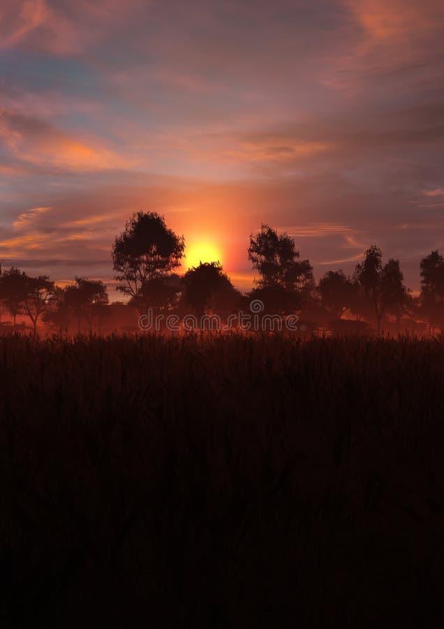 Episk brännhet solnedgånglandskaplodlinje vektor illustrationer