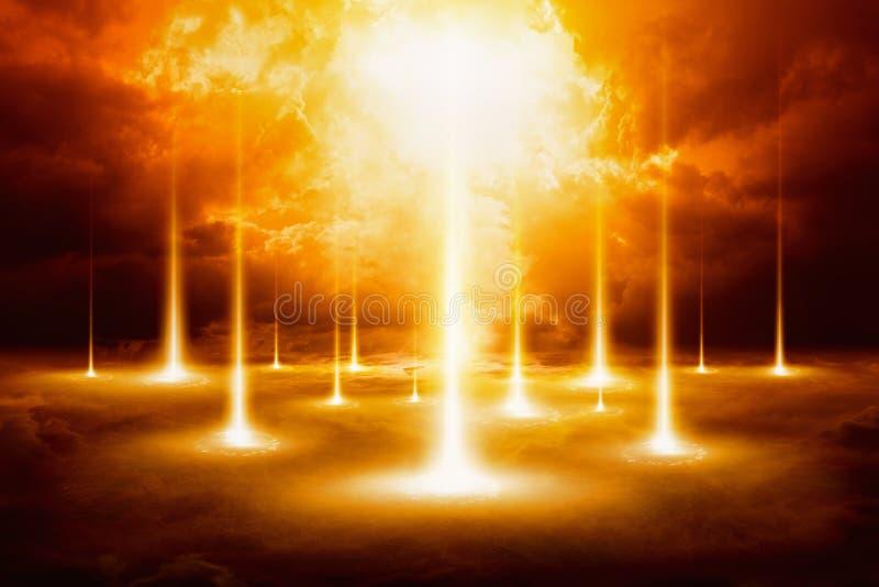 Episk domedagbakgrund - slut av världen, domdag royaltyfri bild