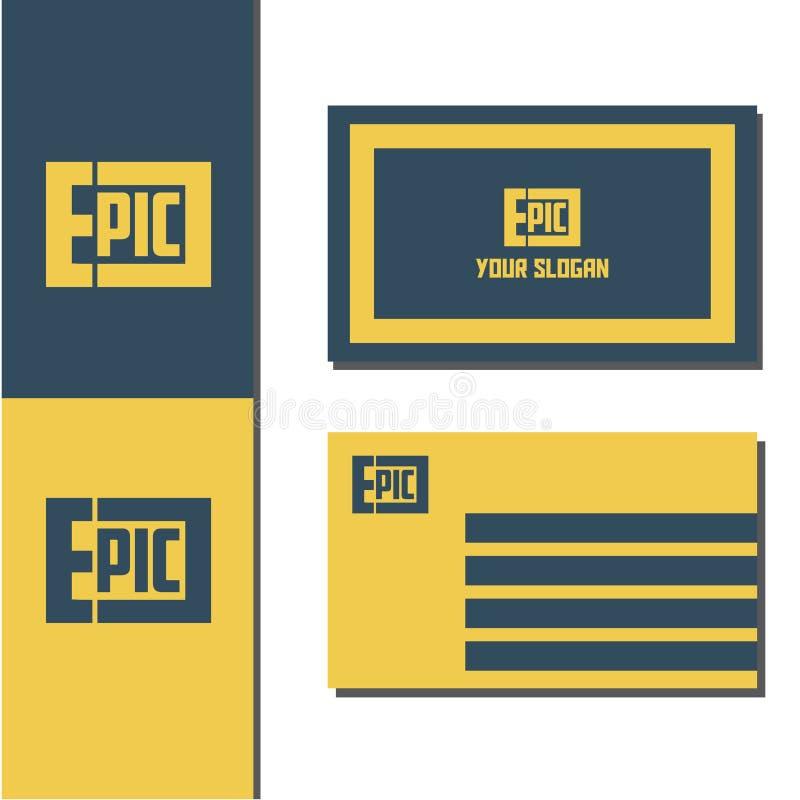 Episk logo för vektorillustration med affärskortdesign royaltyfri illustrationer