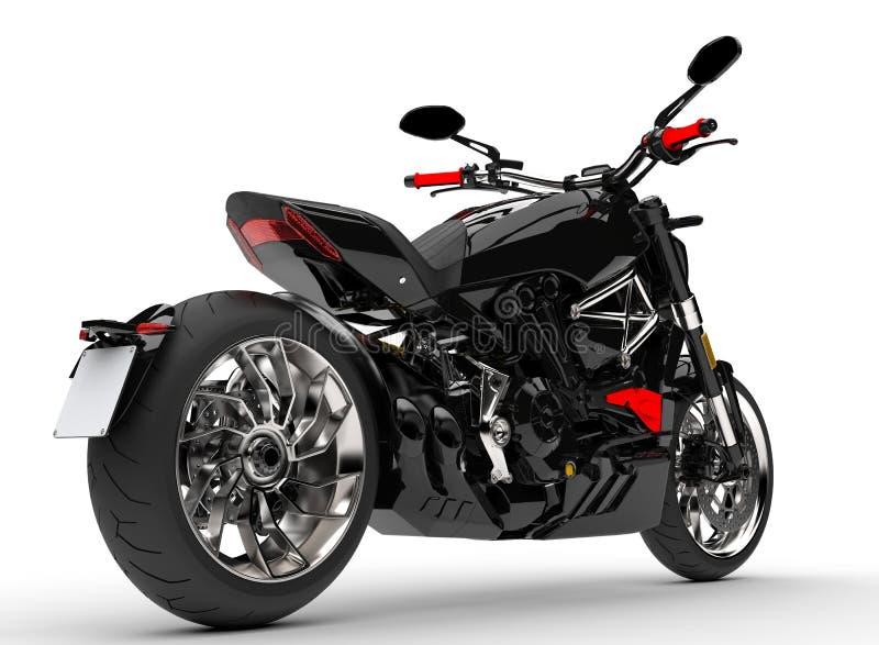 Episk skinande svart kraftig motorcykel - svanssikt royaltyfri illustrationer