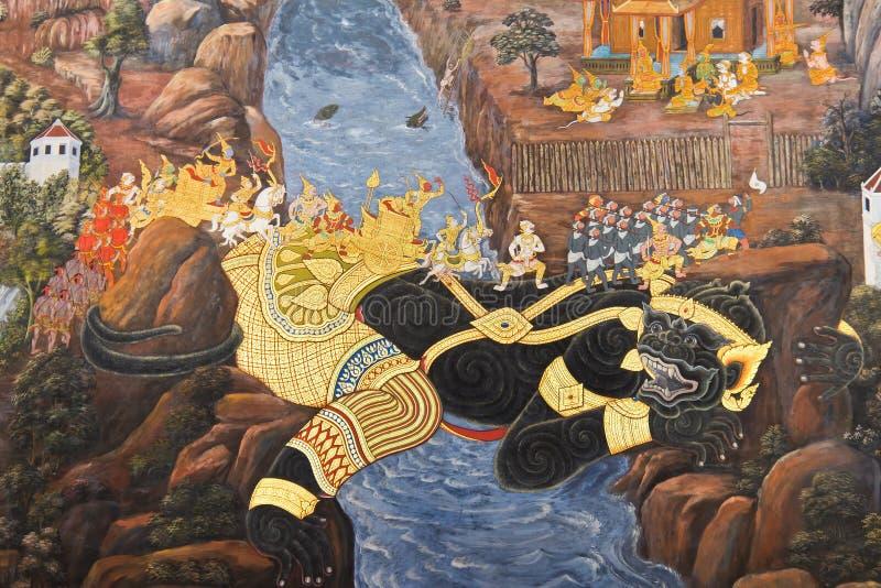 episk thailand för ramayana för kaewmålningspra wat arkivbild