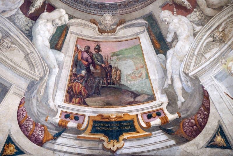 Episodes of the life of Cosimo I de `Medici. Fresco by Bernardino Poccetti Ospedale degli Innocenti - Exterior arcade, Florence, Italy stock image