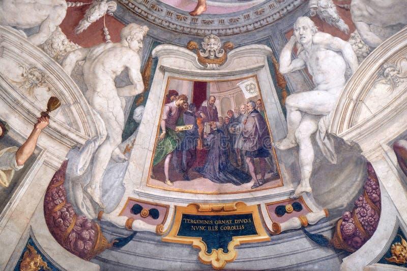 Episodes of the life of Cosimo I de `Medici. Fresco by Bernardino Poccetti Ospedale degli Innocenti - Exterior arcade, Florence, Italy royalty free stock image
