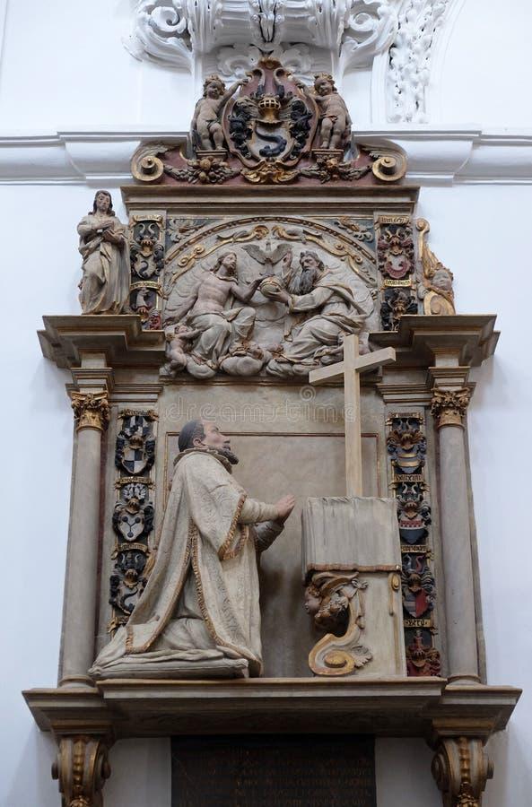 Epitaph f?r Kathedralendekan Johann Konrad Kottwitz in W?rzburg-Kathedrale lizenzfreies stockbild