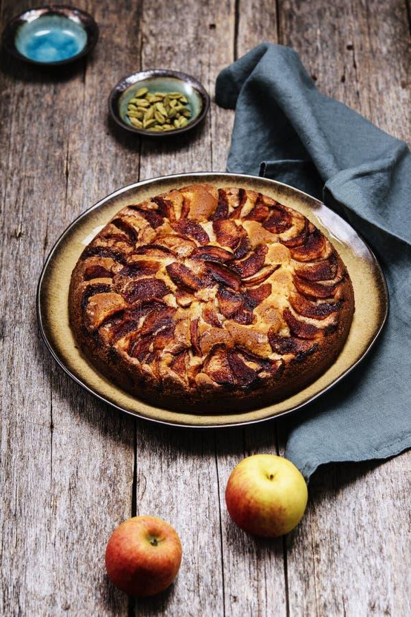 Eplekake Bagaço de maçã tradicional norueguês ou açúcar de torta e canela imagem de stock royalty free