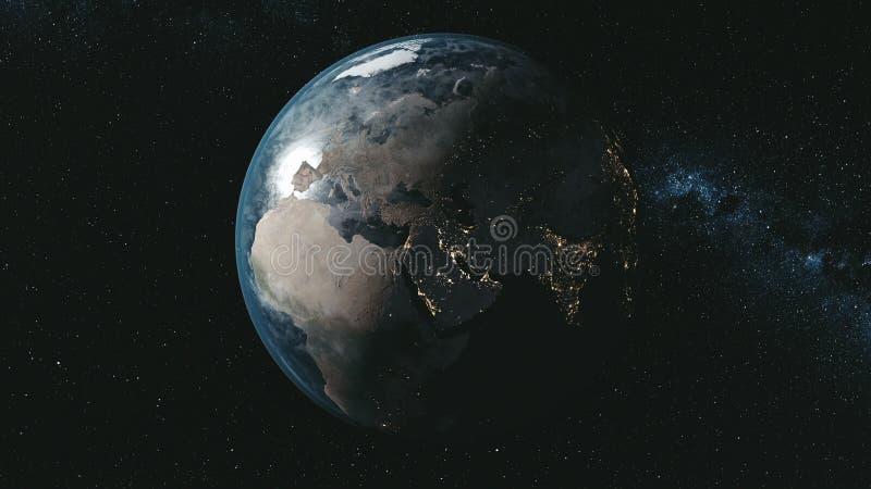Epopeja wiru planety ziemi galaxy nocy satelity widok ilustracja wektor