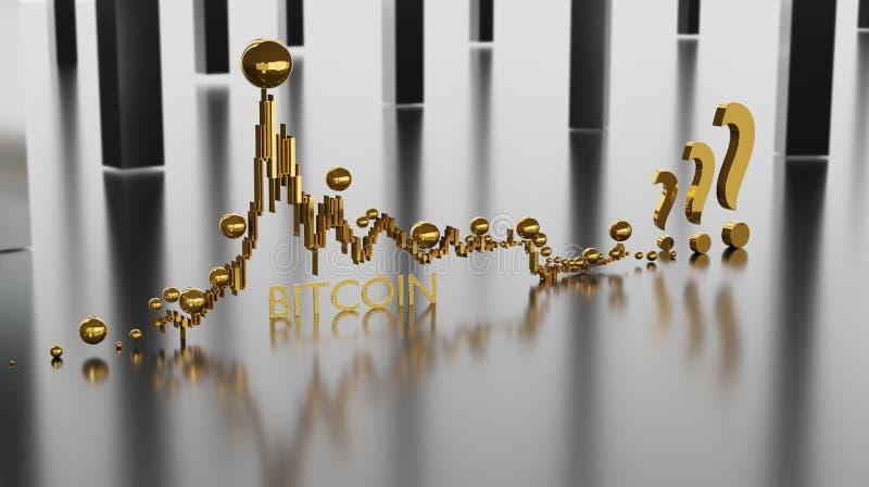 Epopeja zapasu mapa Bitcoin cryptocurrency z wzrostem i zmniejszaniem kurs wymiany royalty ilustracja