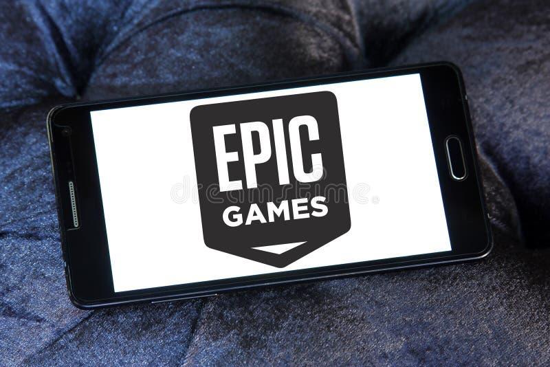 Epos spelar företagslogo royaltyfri bild