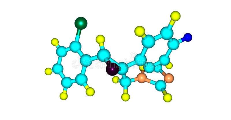 Epoxiconazole molekylär struktur som isoleras på vit vektor illustrationer