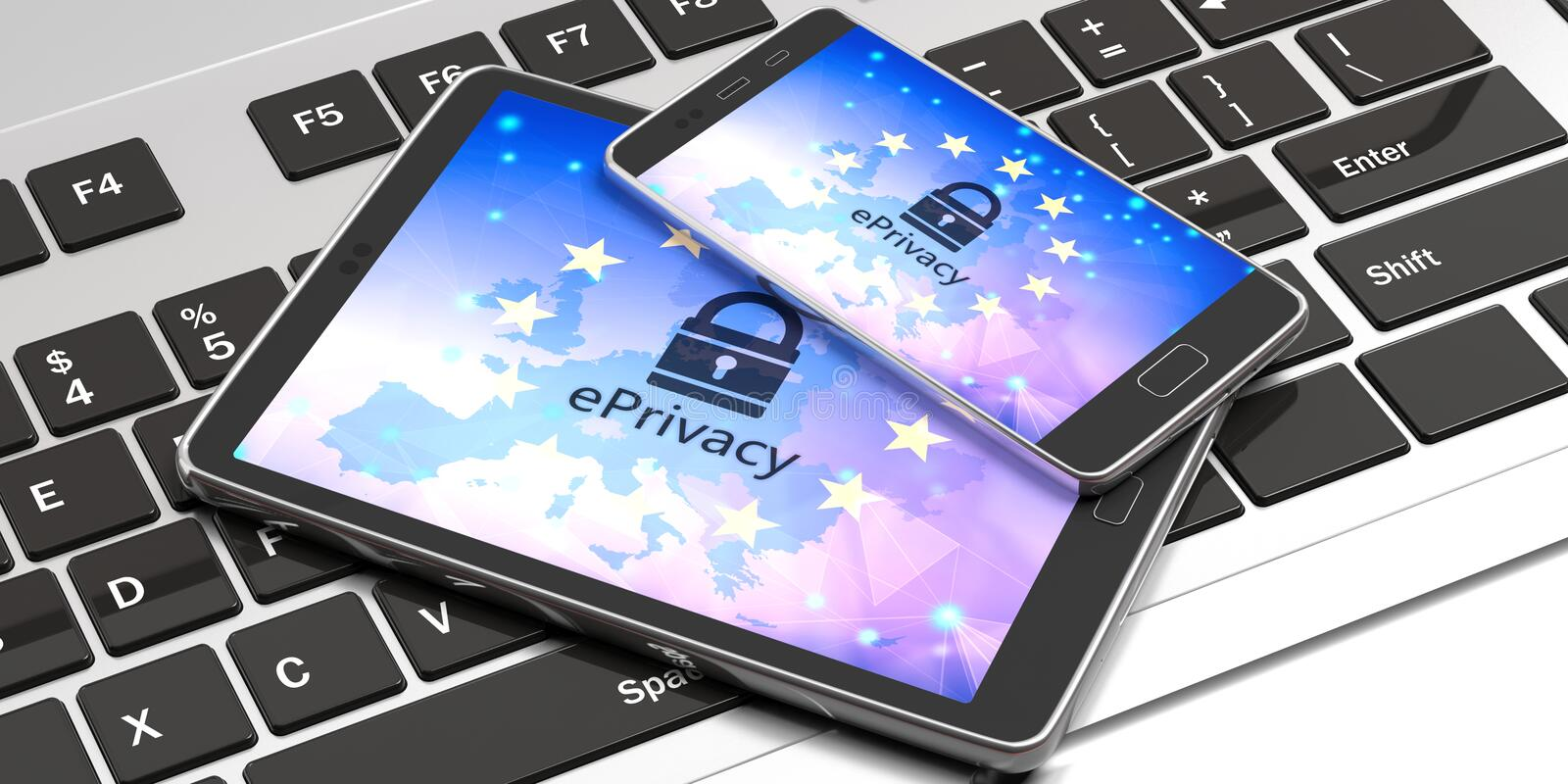 Eprivacy on electronic devices screens. 3d illustration stock illustration