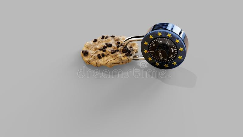 EPrivacy GDPR Europe Cookie w/ Shadows. Chocolate Chip Cookie and a EU style lock with transaprent shadows & x28;16bit PNG& x29;, 3D rendering royalty free stock photos