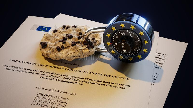 EPrivacy GDPR Europe Law DSGVO EU Cookie. EPrivacy regulations of GDPR, general data protection regulation, DSGVO, law, 3D rendering, EU style padlock inside stock images