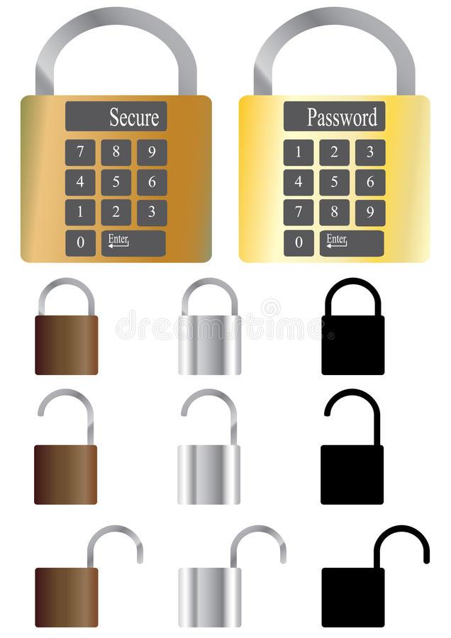 eps图标锁定 库存例证