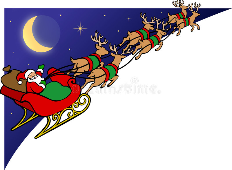eps驯鹿圣诞老人雪橇 皇族释放例证
