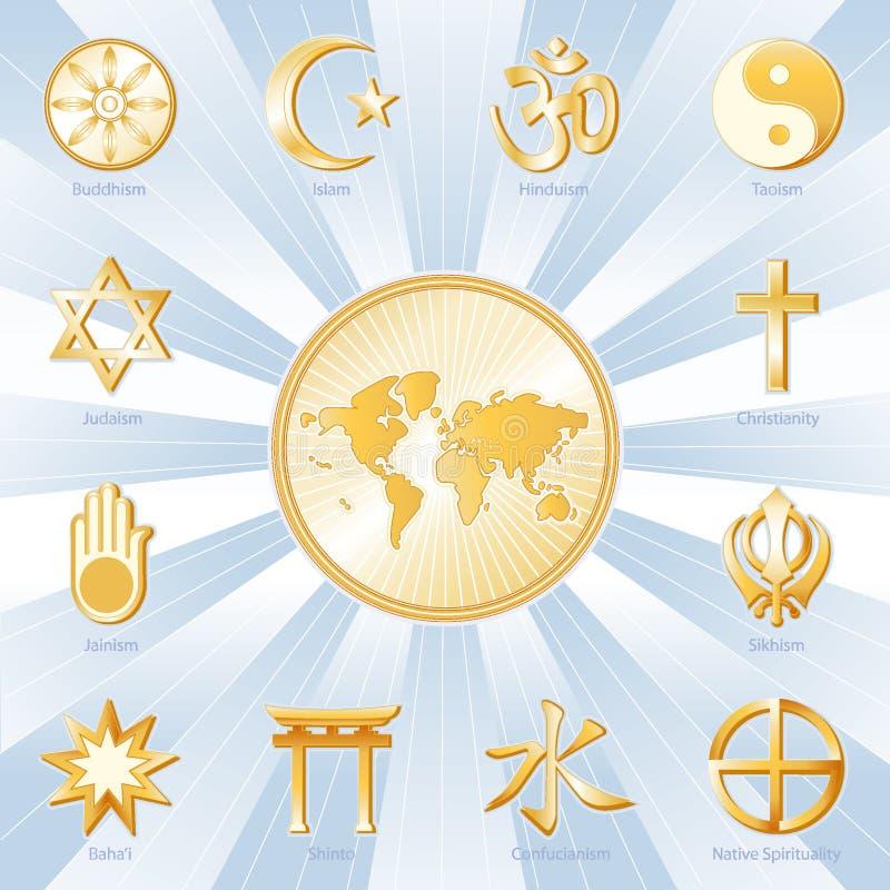 +EPS één Wereld, Vele Blauwe Faiths, stock illustratie