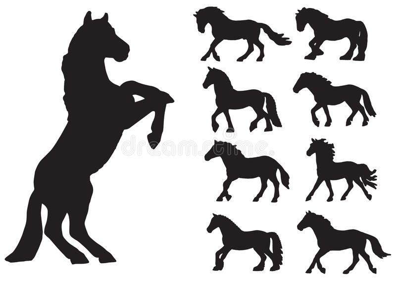 8 eps άλογα θέτουν το διάνυσμα σκιαγραφιών στοκ εικόνες με δικαίωμα ελεύθερης χρήσης